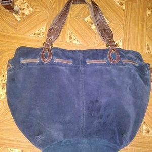 Large navy blue suede bag with brown suede/leather